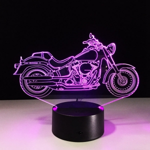USB 3D Motorcycle Shape Touch Colorful Night Light - TRANSPARENT