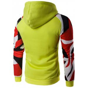 Kangaroo Pocket Abstract Printed Raglan Hoodie -