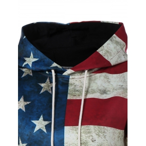 Hooded Flag Print Patriotic Dress - DEEP RED XL