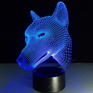 3D Visual Color Changing Dog Shape Touching Night Light -