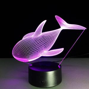Colorful 3D Visual Dolphin Shape LED Night Light - COLORFUL
