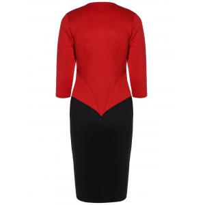 Color Block Zipper Bodycon Dress With Sleeves -