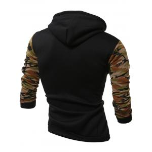 Camouflage Splicing Long Sleeves Hoodie - ARMY GREEN 2XL
