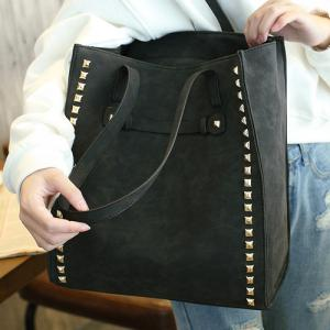 PU Leather Metal Rivets Belt Shoulder Bag -
