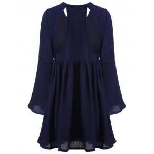 Cut Out String A-Line Dress - CADETBLUE L