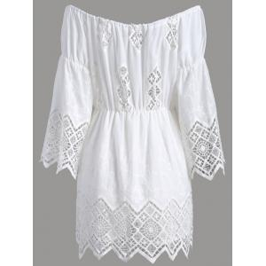 Off The Shoulder Lace Cut Out Romper - WHITE 2XL
