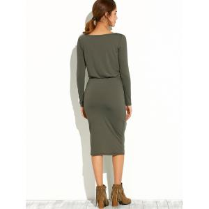 Slash Neck Long Sleeve Pencil Dress - ARMY GREEN XL