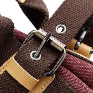 Canvas Buckles Colour Spliced Shoulder Bag - BROWN