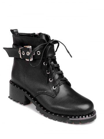 Buy Tie Up Rivets Buckle Strap Ankle Boots BLACK 38