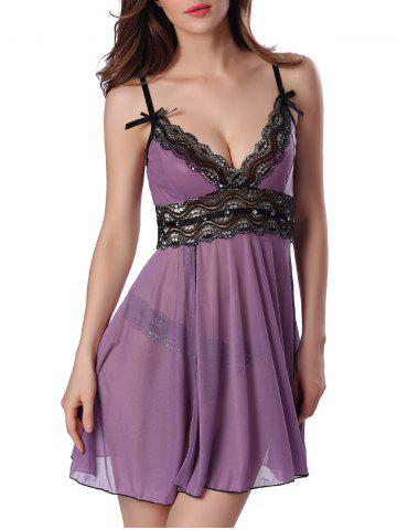 Unique Sequined Spliced Slit Plunge Babydoll With Briefs - L PURPLE Mobile