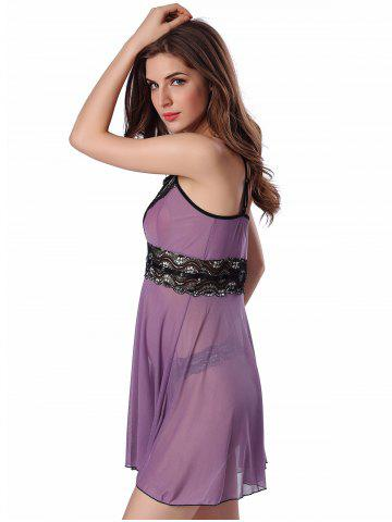 Outfit Sequined Spliced Slit Plunge Babydoll With Briefs - L PURPLE Mobile