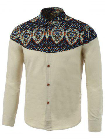 Cheap Zigzag Paisley Print Spliced Long Sleeve Shirt