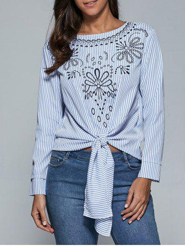 Hot Embroidery Striped Tie Front Blouse