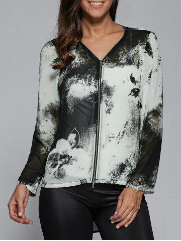Buy Zipper Up Ink Painting High Low Blouse