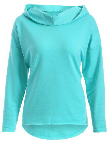 Affordable Drop Shoulder High Low Hoodie LIGHT GREEN XL