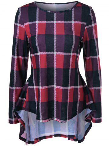 Trendy High Low Plaid Peplum Flowy Blouse CHECKED M