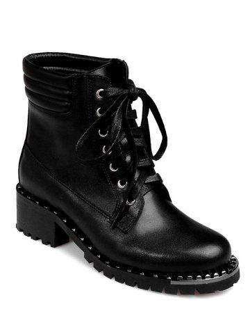Online PU Leather Lace-Up Rivets Ankle Boots
