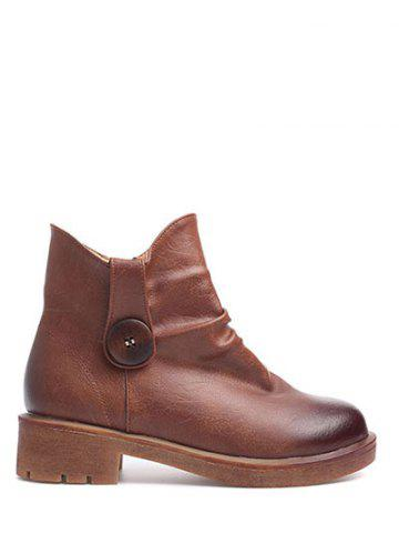 Shop Zipper Button Chunky Heel Ankle Boots