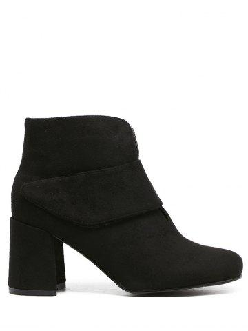 Fancy Flock Round Toe Chunky Heel Ankle Boots