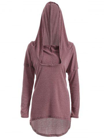 Affordable High Low Hooded Pullover Knitwear BRICK RED XL