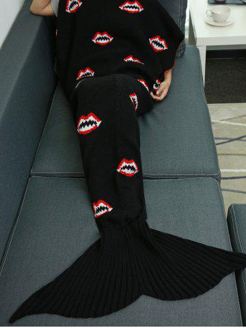 Shops Mouth Pattern Knitted Mermaid Tail Blanket BLACK W31.50INCH*L70.70INCH