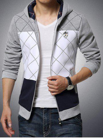 Hot Patch Design Grid Pattern Zip Up Hoodie