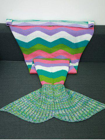 Latest Warmth Colored Wave Stripes Design Knitting Mermaid Tail Blanket