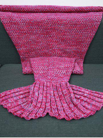 High Quality Crochet Knitting Sofa Mermaid Tail Blanket - ROSE RED