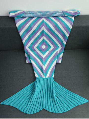 Hot High Quality Geometry Pattern Crochet Knitted Mermaid Tail Blanket