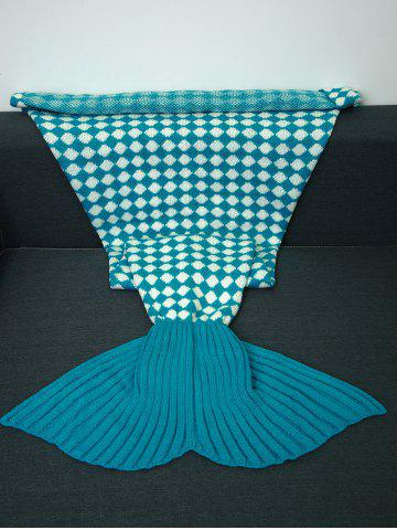 Warmth Inclined Plaid Pattern Knitted Mermaid Tail Blanket - Lake Blue - Xl