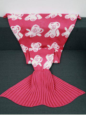 Sale Acrylic Knitted Bear Pattern Mermaid Tail Blanket and Throws ROSE RED