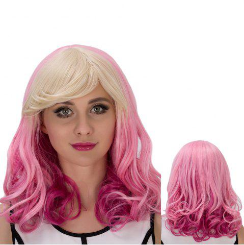 Discount Fascinating Pear Flower Colored Medium Side Bang Wavy Cosplay Synthetic Wig COLORMIX