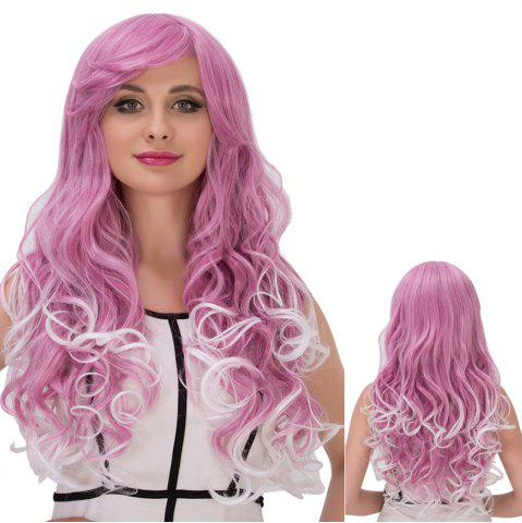 Cheap Long Fluffy Side Bang Wavy Purple Mixed White Cosplay Synthetic Wig