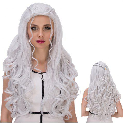 Unique Long Shaggy Wavy Cosplay Synthetic Wig SILVER WHITE