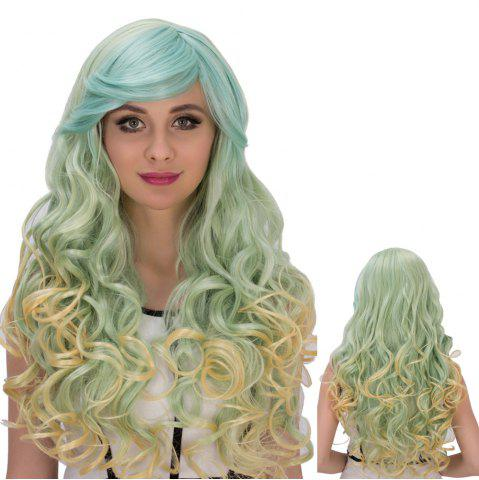 Latest Colorful Gorgeous Long Side Bang Wavy Cosplay Synthetic Wig