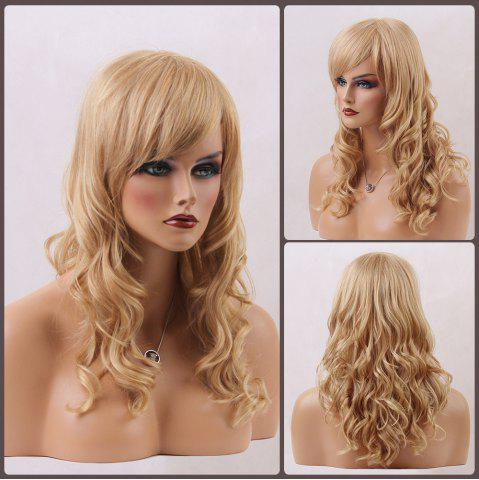 Store Long Wavy Inclined Bang Human Hair Wig BLONDE