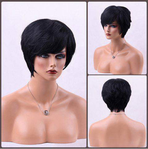Discount Straight Short Side Bang Human Hair Wig JET BLACK