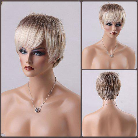 Online Short Pixie Ombre Oblique Bang Straight Human Hair Wig
