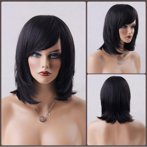 Affordable Medium Oblique Bang Straight Human Hair Wig