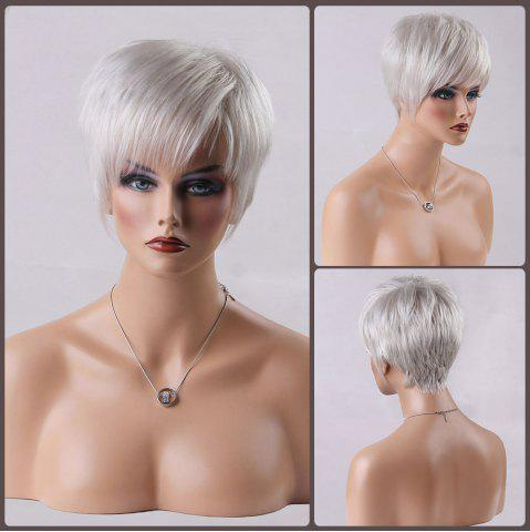 Outfit Short Oblique Bang Straight Real Natural Hair Wig WHITE GREY