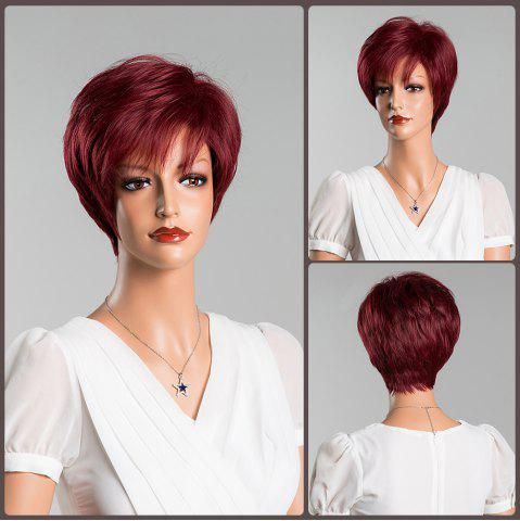 Best Short Straight Towheaded Oblique Bang Human Hair Wig