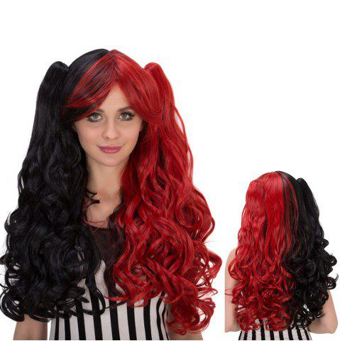 Affordable Long Wavy Oblique Bang Colormix Synthetic Lolita Wig with Bunches