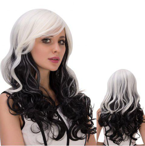 Discount Long Ombre Inclined Bang Wavy Synthetic Lolita Wig WHITE/BLACK