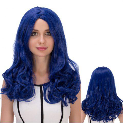 Affordable Long Wavy Zigzag Parting Synthetic Lolita Wig DEEP BLUE