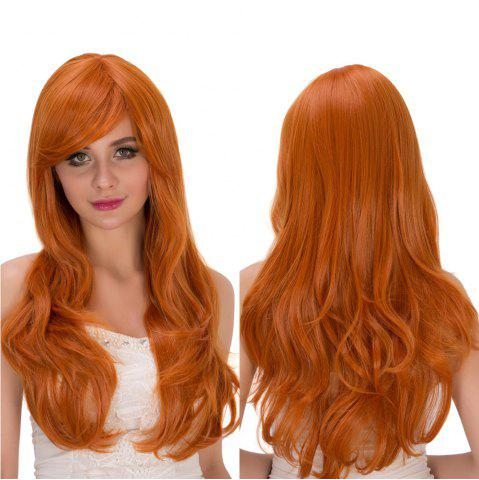 Outfit Long Fluffy Wavy Oblique Bang Synthetic Cosplay Lolita Wig PURE ORANGE