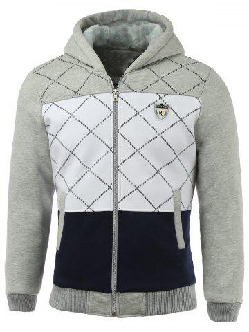 Sale Zippered Patch Design Ribbed Sherpa Hoodie