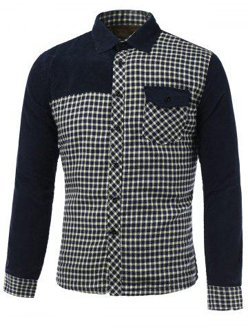 Shop Long Sleeve Plush Lining Spliced Gingham Shirt CADETBLUE XL