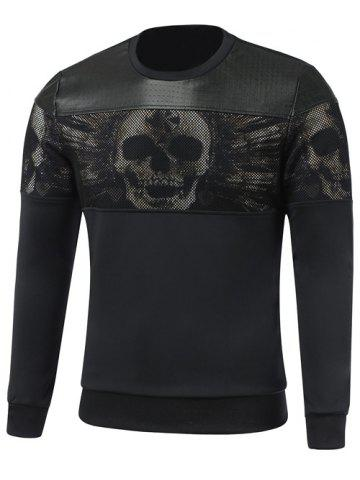 Sale Faux Leather Insert Paneled Crew Neck Skull Sweatshirt BLACK L
