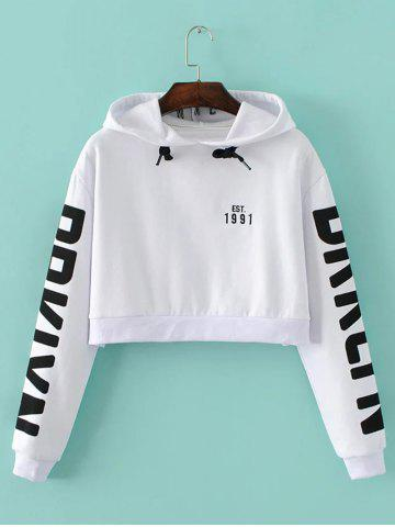 Shops Letter Cropped String Hoodie