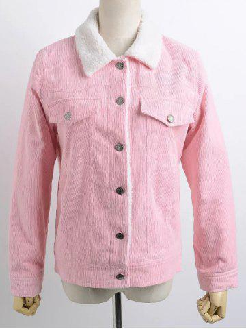 Hot Buttoned Corduroy Shearling Jacket